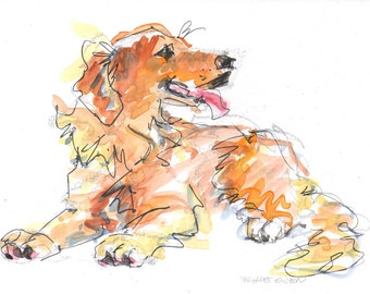 "golden retriever watercolor painting 6""x8"""