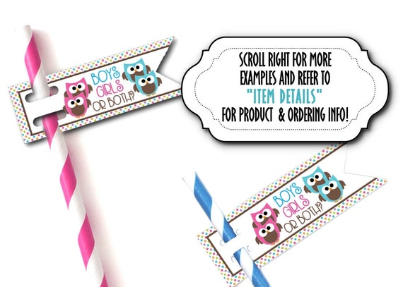 TWINS, 12 Flags for Straws, Sucker or Lollipop Sticks, Cake Pop Sticks, Baby Gender Reveal Party, Baby Shower, Pink & Blue Owls