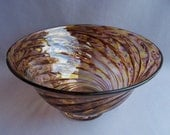 Hand Blown Art Glass Fruit ,Candy Bowl on Foot,Amber and  Gold Color