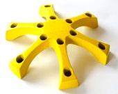 Vintage Viking Craft Yellow Cast Iron Taper Candleholder