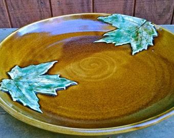Large Serving Platter, Large Platter, Serving Platter, Maple Leaf, Sugarlands Glaze, Ready to Ship