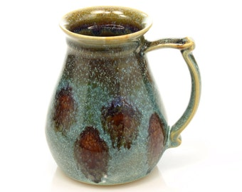 16oz Ceramic tankard with green and brown glazes, handmade by Jason Hooper Pottery