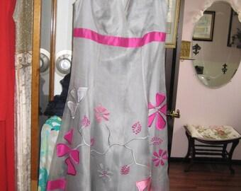 Silk Organza Party Dress/Appliqued Silk Garden Party Dress Size 4-6