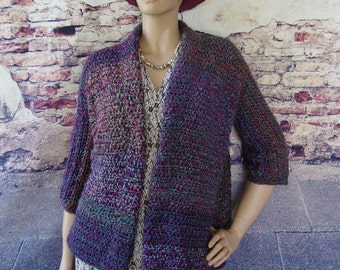 Sweater Coats, Cozy Cardigan, Cardigans, Crochet Jacket, Boucle Jacket, Mystical Stripes, Purple Cardigan, Available in S/M, L/Xl, and 1X/2X