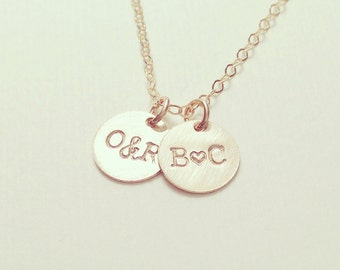 """NEW - Tiny Customized Initial 3/8"""" Disc Necklace in gold - Little Dainty Circle Disc Charms - Personalized - Bridal Gift - thelovelyraindrop"""