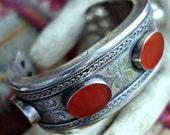 Carnelian Silver Turkmen Bracelet