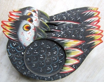 Hand Painted Wooden Bird Coasters Set of Four
