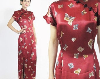 25% off SALE 90s Asian Dress Butterfly Print Dress Traditional Chinese Cheongsam Mandarin Collar Dress Red Satin Evening Gown Frog Buttons M