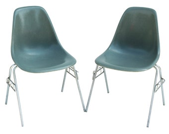 2 Herman Miller Eames Side Shell Chairs Seafoam Green Blue DSS Fiberglass Midcentury
