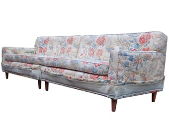 Tufted 2 Pc Midcentury Modern Sofa Sectional after Dunbar Ed Wormley Eames 101""