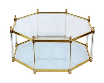 Gilt Hollywood Regency Octagonal Lucite and Brass Vintage Coffee Table after Maison Jansen