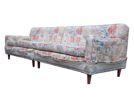 Tufted 2 Pc Midcentury Modern Sofa Sectional After Dunbar Ed