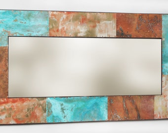 """49"""" x 25"""" Metal and Copper Mirror"""