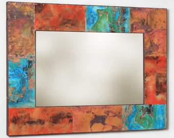 39 x 29 Metal and Copper Mirror
