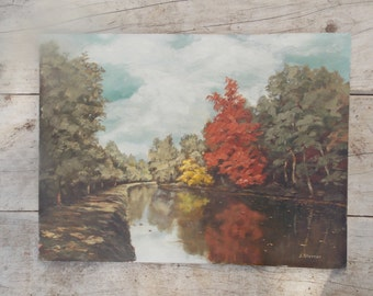 Oil Painting Fall Foliage lake Shabby Cottage Oil Picture