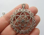 2 Flower of life charms silver tone M708