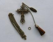 KIT - 1 Cross necklace antique bronze tone