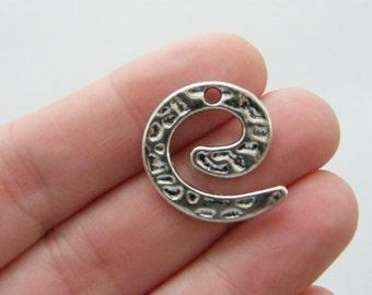 BULK 50 Spiral pattern charms antique silver tone M105