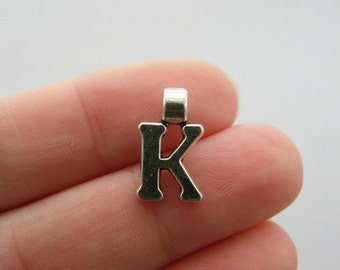 6 Letter K charms antique silver tone