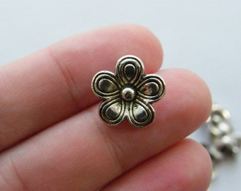 12 Flower charms antique silver tone BOX7