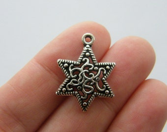 6 Star charms antique silver tone S59