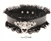 BDSM Elegant Lace Collar Cupids Intended Fetish Leather Bondage Choker - Snaps OR Locking ( padLocks included) - Day BDSM Kitten Play Collar