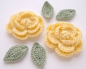 "Buttercup Yellow 1-3/4"" Crochet Rose Flower Embellishments w/ Leaves Handmade Scrapbooking Fashion Accessories Appliques - 6 pcs. (3200-02L)"