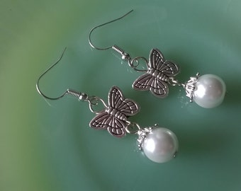 Butterfly Earrings,Butterfly and Pearl Earrings,Butterfly Jewelry,Boho Chic
