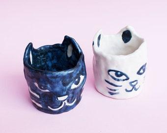 PREORDER - Cat Ceramic Mug, Cat Hand-Built Pottery Mug, Kawai Mug