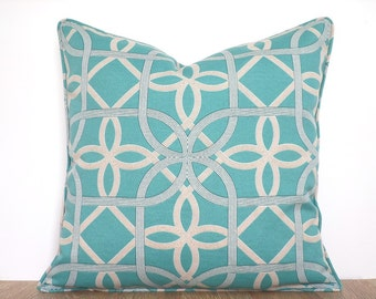 Light teal outdoor pillow cover 18x18, turquoise outdoor cushion outside living, geometric outdoor cushion case, teal and grey pillow cover