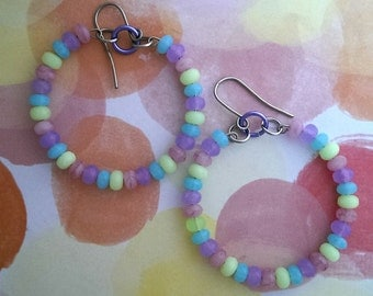 Candy necklace inspired hoops