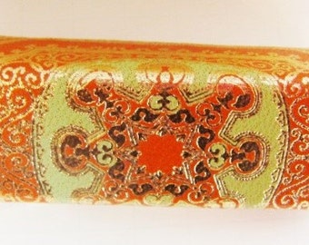 Italian Fiocchi Leather Embossed Lipstick Case Orange -  Green