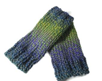 Fingerless Gloves, Knit Gloves, Hand Warmers, Gift For Her, Fiber Art, Purple Green,Womens Gloves, Fashion Accessory, Texting Gloves, Gloves