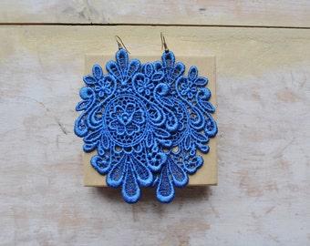 Blue chic lace earrings/ Long earrings/ Romantic/ Victorian earrings/ Modern boho/ Gift idea/ rusteam teamstyle