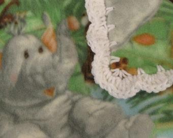 Baby Boy Fleece With Jungle Animals Monkeys & Lions Boy Baby Blanket With White Shell Crochet Edge