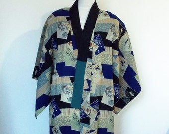 Vintage Men's casual wool JUBAN KIMONO inner for winter the Boys' Festival motifs size Extra small