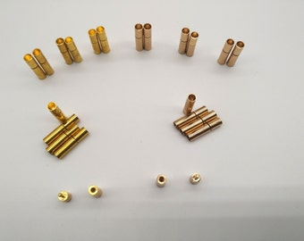 Cord Clasp 3 sets 3mm Round Hole Leather Cord Ends Cord Clasps Latching Tube Clasp Gold Clasp Light Gold Clasp