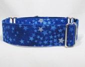 Martingale Collar, Greyhound Collar, Royal Blue and Silver Stars Martingale Celestial Martingale, Buckle Collar, Star Wars Collar