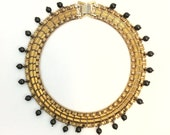 Vintage Gold Plated Brass Panther Chain Collar Necklace with Hematite Beads