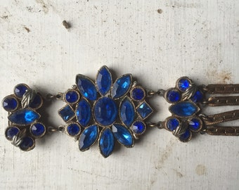 Jewelry Vintage Flower Bracelet / wedding cuff  gold tone with Faceted Glass Sapphires/ bridesmaid gift/ something blue