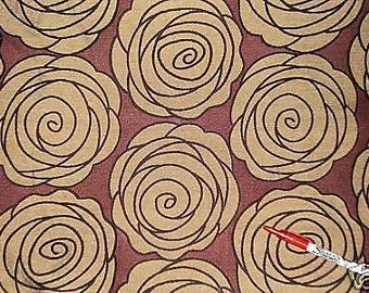 RETRO Large FLORAL, Maroon Gold Plum Rust, ROSE Upholstery Fabric, 35-72-07-068