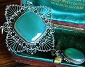 RESERVED Ornate cannetille filigree chrysoprase pendant - antique jewelry
