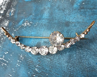 Moon and Star Vintage Pinchbeck Brooch