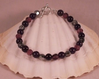 Sterling Silver, Swarovski Crystal And Amethyst Bracelet With Toggle Clasp