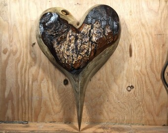 Myrtlewood Anniversary present wooden heart wood carving gift an amazing Always and Forever gift by Gary Burns the treewiz