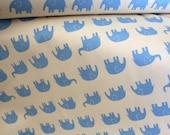SuperBowl Sale Daiwabo Japan Fabric, Tip Top Elephant Walk Blue on white, Cotton canvas, 1/2 Yard