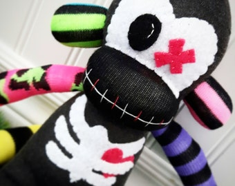 Zombie Sock Monkey Doll