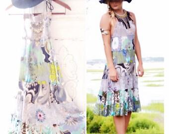 Hippie chic halter dress, Bohemian summer music festival sundress, Day tripper tunic dress, Patchwork Boho hippie dress, True rebel clothing