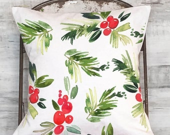 Pillow Cover Red and Green Holly Berries