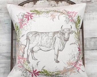 Farmhouse Decor Wildflower Cow No. 2 Pillow Cover